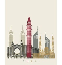 Dubai skyline poster vector image