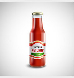 Ketchup glass bottle in realistic style vector