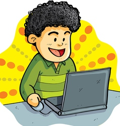 Boy playing laptop vector
