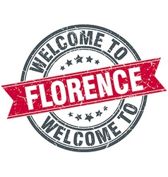 Welcome to florence red round vintage stamp vector