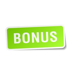 Bonus green square sticker on white background vector