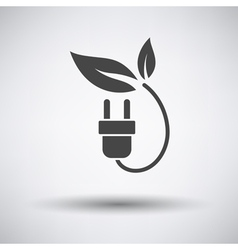 Electric plug with leaves icon vector