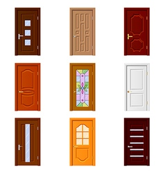 Room doors icons set vector