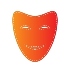 Comedy theatrical masks orange applique isolated vector
