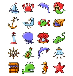 Marine and nautical icons set vector
