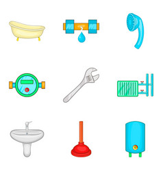 Bathroom cleaning icon set cartoon style vector
