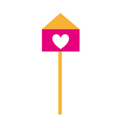 Bird house with heart vector