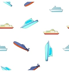 Boats and ships pattern cartoon style vector