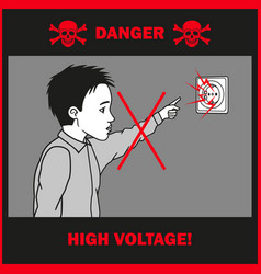Boy touches to an electrical outlet vector