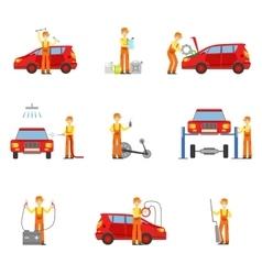 Car repair workshop services set of vector