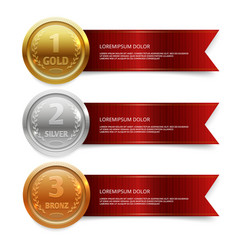 Champion gold silver and bronze medails with red vector