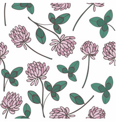 Clover hand drawing seamless pattern on a white vector