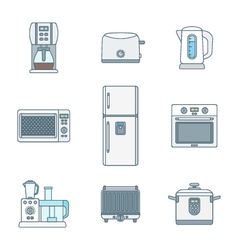 colored outline various kitchen devices set vector image vector image