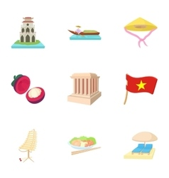 Country Vietnam icons set cartoon style vector image
