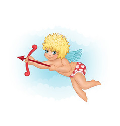 Cute cupid on a background of clouds vector
