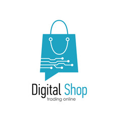 Digital shop logo design template vector