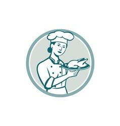 Female Chef Serving Chicken Roast Circle Retro vector image