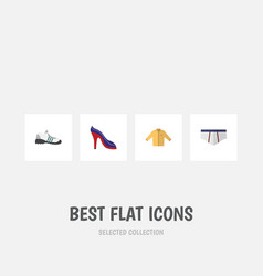 Flat icon clothes set of sneakers banyan vector