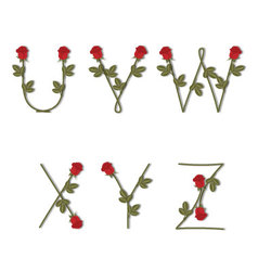 Floral alphabet red roses with shadow from u to z vector