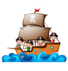 Four kids playing pirate in the ship vector