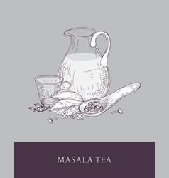 Glass pitcher cup of masala chai or spiced tea vector