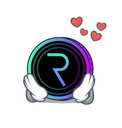 In love request network coin mascot cartoon vector