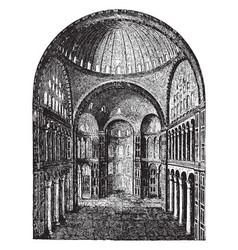 Interior of hagia sophia pillars vintage engraving vector