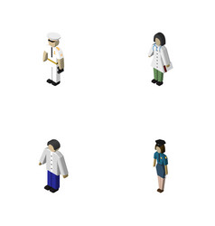 Isometric person set of seaman doctor vector