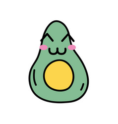 Kawaii cute happy avocado fruit vector