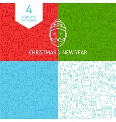 Line christmas new year patterns vector