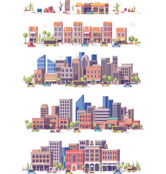 low poly 2d city scenes vector image vector image