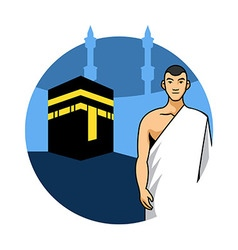 Man Hajj And Kaaba Background vector image