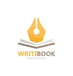 Pen and book logo concept vector