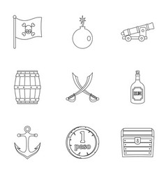 Pirates treasure icon set outline style vector