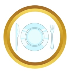 Plate with knife and fork icon vector