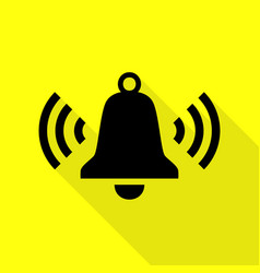 Ringing bell icon black icon with flat style vector