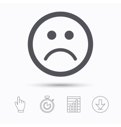 Sad smiley icon Bad feedback sign vector image
