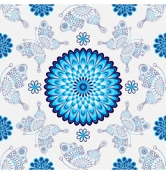 Seamless white pattern with vintage blue flowers vector image