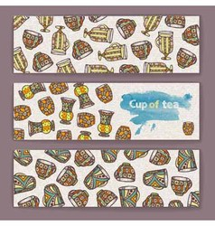 Set of banners with decorative cup of coffee vector image vector image