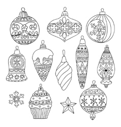 Set of hand drawn Christmas tree balls vector image vector image