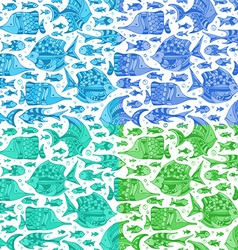 Set of seamless fish patterns vector