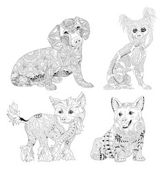 set of zentangle stylized dogs hand drawn lace vector image vector image