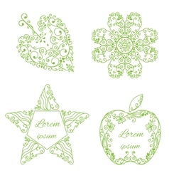 Set typographic ornamental objects vector image vector image
