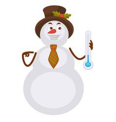 snowman in hat with holly plant holds thermometer vector image