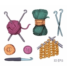 Tools and materials for knitting sketch vector