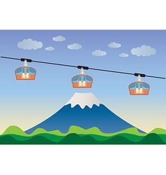 Transportation cable car with big mountain backgro vector