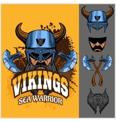 Viking warrior and isolated elements vector
