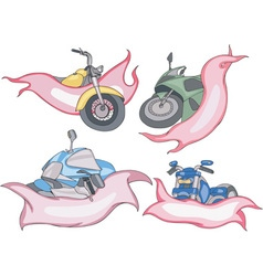 Motorbike templates with red and pink ribbons vector