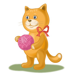 cartoon cat with a ball of wool yarn vector image