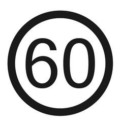 Maximum speed limit 60 sign line icon vector